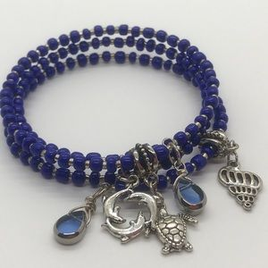 Deep Blue Sea Charm & Beaded Bangle Wrap Bracelet